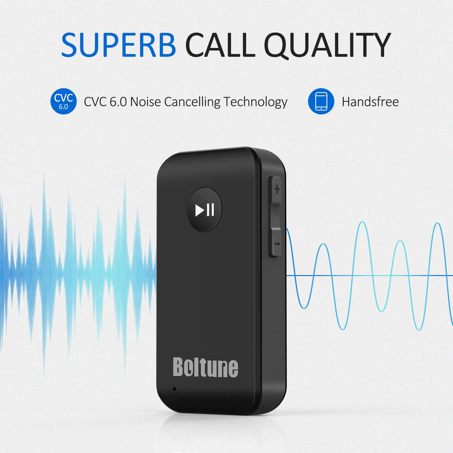 Hands-Free Car Kit with Microphone Bluetooth V5.0 aux Adapter Boltune Audio Receiver Car Kit for Home Hi-fi System Headphones Speaker Portable Wireless Audio Adapter 3.5mm Aux for Music