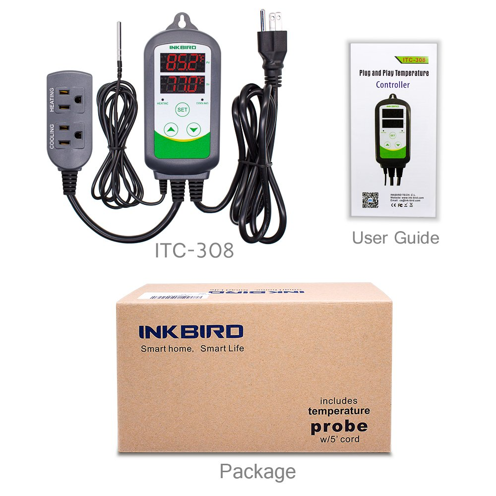Inkbird 10A 110V Digital Temperature Controller ITC-308 Thermostat with  Heat and Cool Relays: Amazon.com: Industrial & Scientific