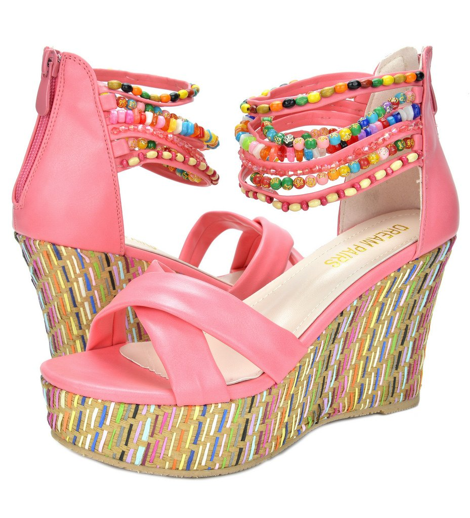 DREAM PAIRS Bling Women's Wedge Sandals Pearls Across The Top Platform High Heels Coral Size 8.5 by DREAM PAIRS (Image #2)