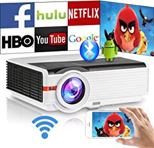 Wireless Smart LED Movie Projectors Home Theater Bluetooth Wifi HDMI Support 1080P Airplay Miracast Mirroring 6000lm Digital HD LCD Video Projector for iOS/Android Games TV Phone Laptop DVD Outside