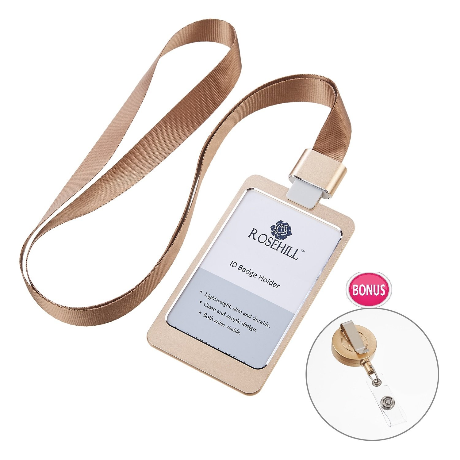Rosehill Business 2-sided Metal ID Badge Holder with Detachable Lanyard/Strap (Bonus:Retractable ID Badge Reel) (Gold)
