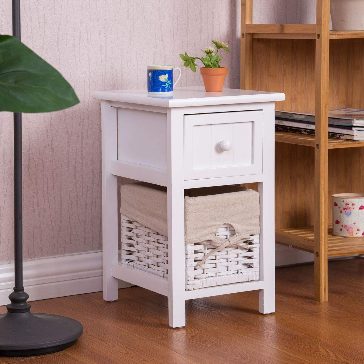 2 Tier 1 Drawer Bedside Organizer Wood Nightstand w/ Basket