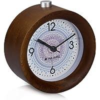 Navaris Despertador analógico - Reloj Redondo de Madera