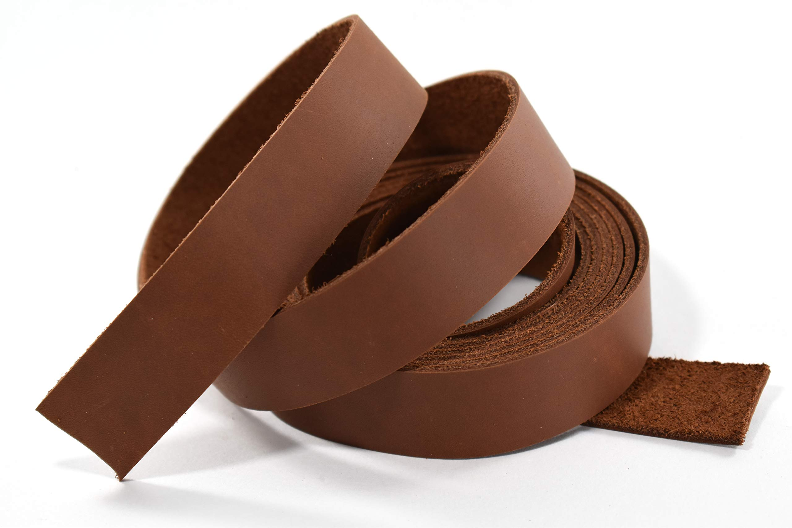 1'' x 84'' Brown Oil Tanned Leather Strip 5-6oz LeatherRush