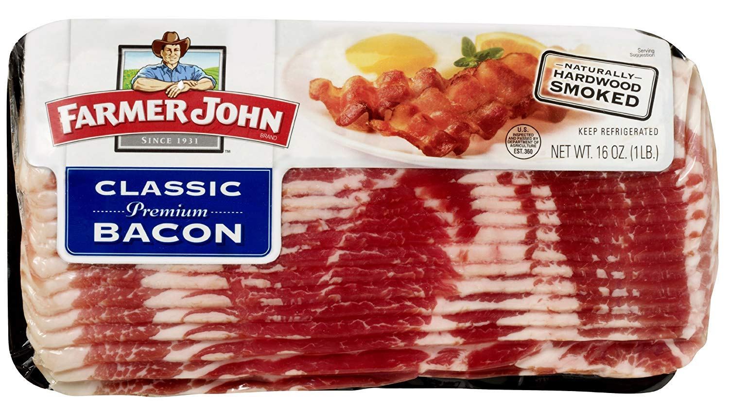Farmer John Classic Premium Sliced Bacon 16oz. Package (Pack of 4) | Ship Frozen With Ice by Farmer John (Image #1)