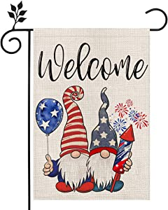 CROWNED BEAUTY Patriotic Gnomes Welcome Garden Flag 12×18 Inch Double Sided 4th of July Independence Day Memorial Day American Veteran Soldier Yard Outdoor Decor CF124-12