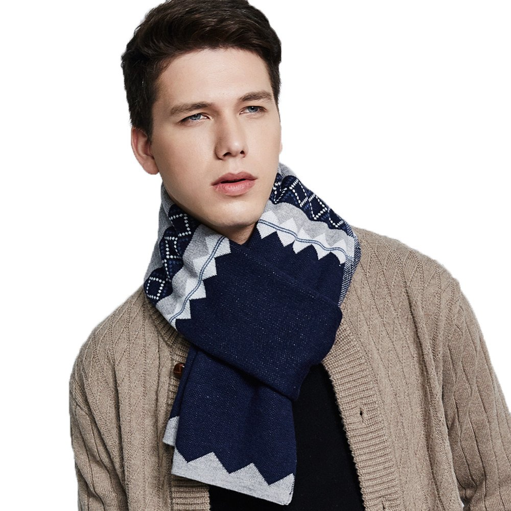 Men's Cashmere Feel Scarf, Fashion Stripe Scarv Wool knitted Long Scarf (Blue)