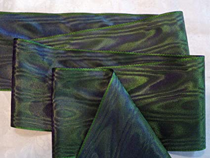 """RAYON FOREST GREEN 4/"""" WIDE GERMAN MOIRE RIBBON PLUM"""
