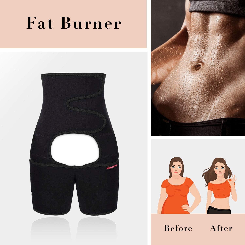 3 in 1 Neoprene High Waist Full Body Belt Summer Sweat Thigh Trimmer and Butt Lifter Workout Fitness MIZATTO Waist Trainer for Women Weight Loss Everyday Wear