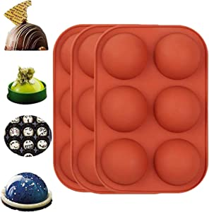 Medium Semi Sphere Silicone Mold,3 Packs Baking Mold for Making Hot Chocolate Bomb,Cake,Jelly,Dome Mousse