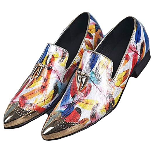 US Size 5-12 New Fashion Multicolor Steel Toe Leather Mens Slip On Casual Dress Suit Loafers Shoes