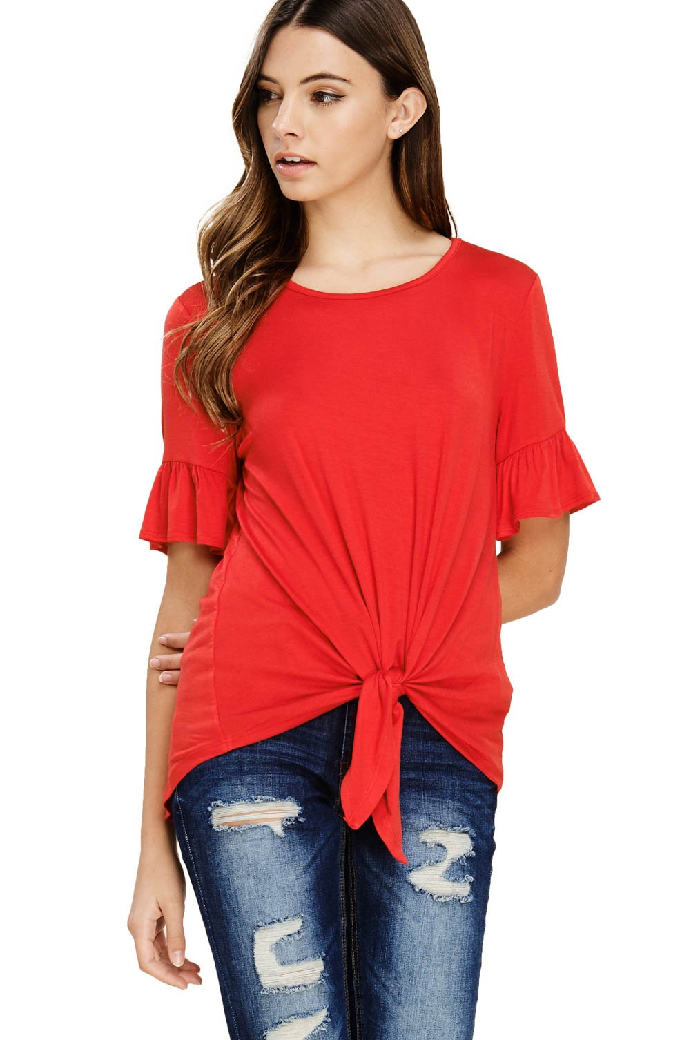 Annabelle Women's Casual Short Sleeve Knot Tie Front Loose fit Tee T-Shirt Blouses Poppy Red Medium T1200