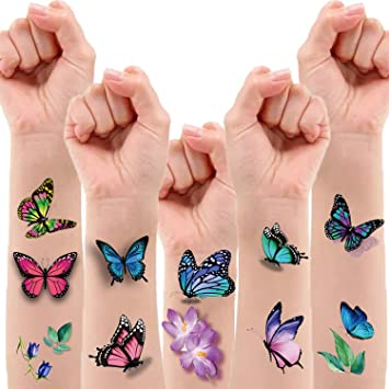 Amazon Com 120 Pcs 3d Butterfly Temporary Tattoos For Women Butterfly Fake Tattoos Party Favors For Girls Butterfly Birthday Decorations Body Art Makeup Stickers 12 Sheets Beauty