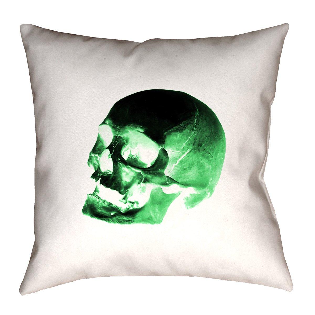 ArtVerse Katelyn Smith 14 x 14 Spun Polyester Red Skull Pillow