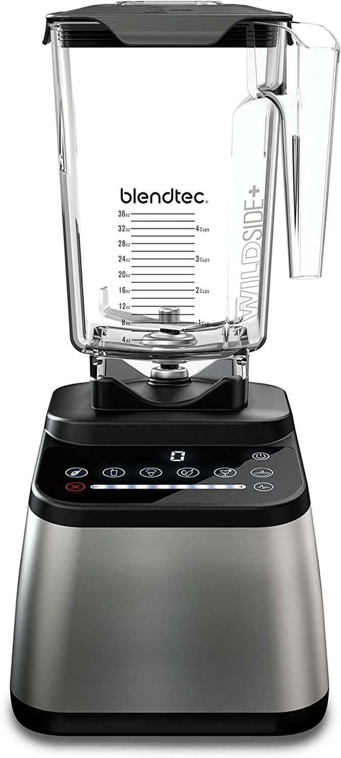 Blendtec Designer Series Blender - WildSide+ Jar (90 oz) - Professional-Grade Power - Self-Cleaning - 6 Pre-programmed Cycles - 8-Speeds - Sleek and Slim - Stainless