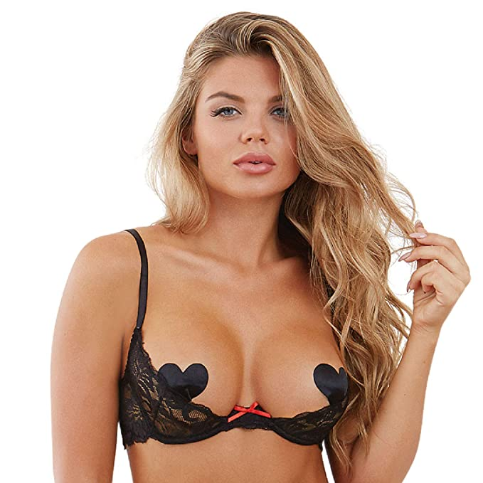 a281880ac DreamGirl Women s Sexy Scalloped Lace Open Cup Underwire Shelf Bra with  Contrast Bow Detail Black