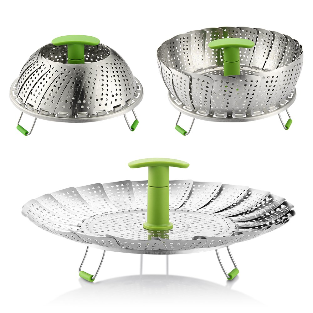 """Steamer Basket, 7""""-11"""" Zanmini Stainless Steel Vegetable Steamer Basket Foldable Steamer Insert with Extendable Handle for Veggie Fish Seafood Cooking, Expandable to Fit Various Size Pot"""