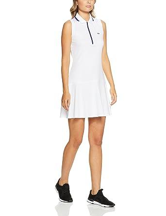 7341c16e7 Lacoste Women Sleeveless Tennis Dress, White/Ocean, 38F (AU 10 ...