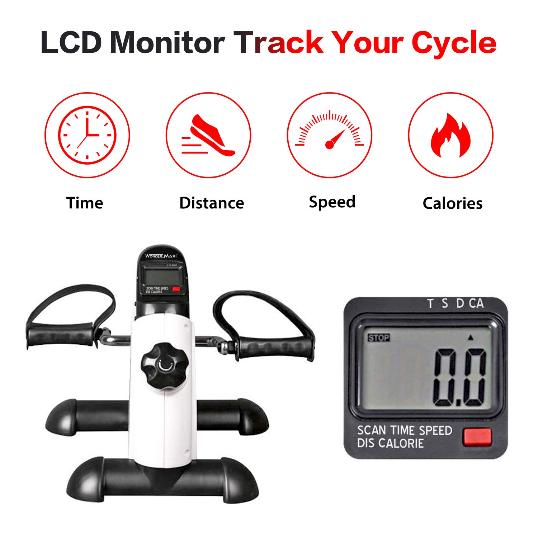 Wonder Maxi Under Desk Bike Pedal Exerciser w LCD Screen Display, Portable Mini Cycle Exercise Bike for Leg Arm Pedal