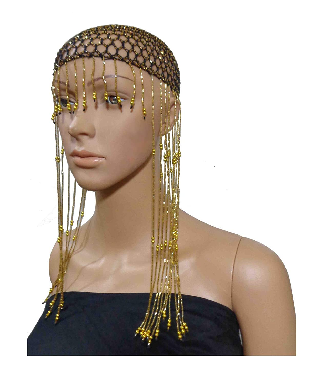 37616e7f319 Amazon.com  Cleopatra Beaded Belly Dance Costume Headpiece Headwear Cap Hat  Tassel 404 (Black X Gold Beads)  Clothing