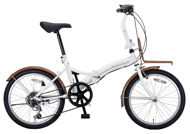 キャプテンスタッグ(CAPTAIN STAG) エクシリア 20インチ 折りたたみ自転車 FDB206 [ シマノ6段変速 / LEDバッテリーライト/前後泥よけ/BAA ]標準装備  パールホワイト B00I8HXPNQ