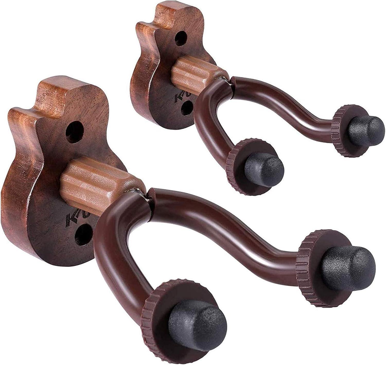 Guitar Ukulele Wall Mount Hanger 2 Pack Black Walnut Wood Guitar Hanger Wall Hook Holder Stand Accessories for Bass Ukulele Electric Acoustic Guitar Violin Banjo Mandolin