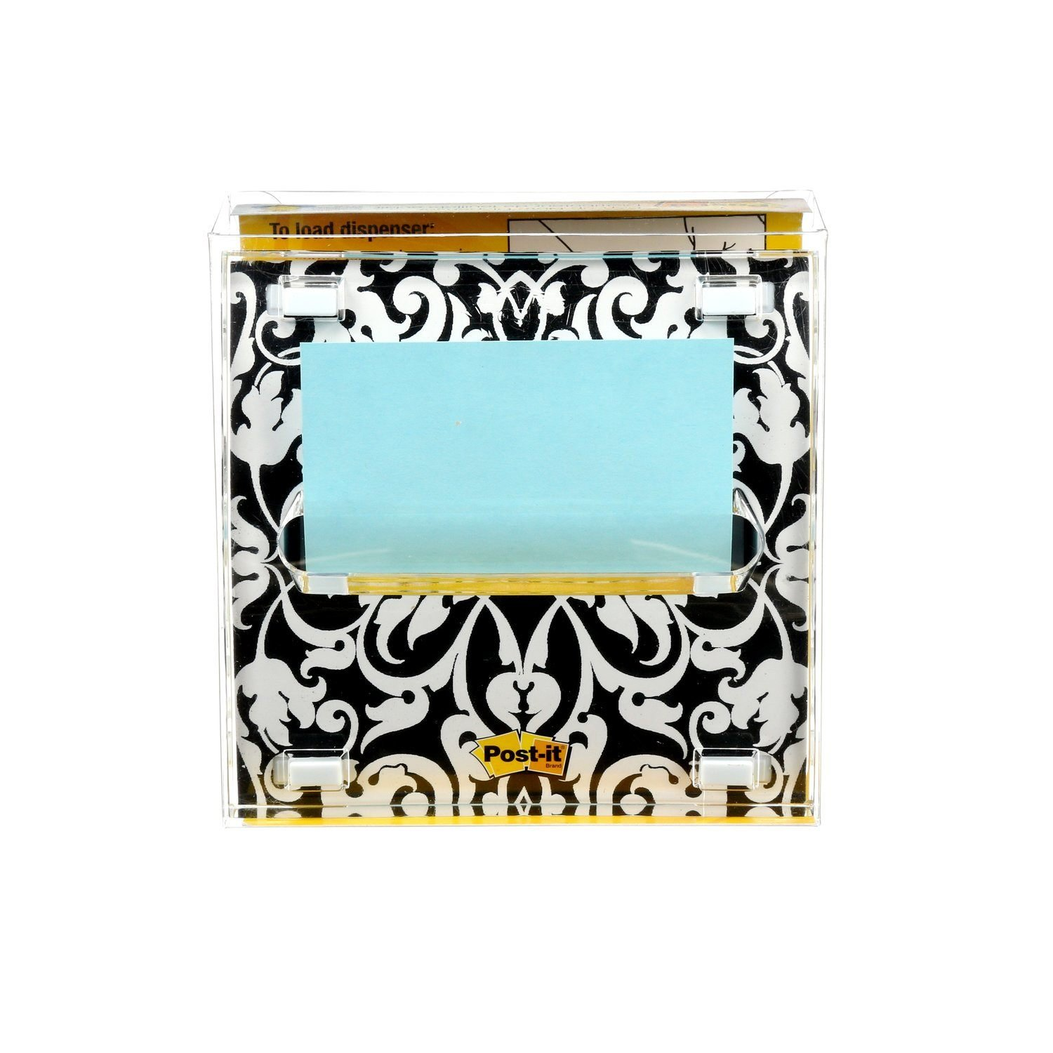 Post-it Pop-up Notes Dispenser for 3 in x 3 in Notes, Includes Black and White Brocade Insert (DS330-BWB)