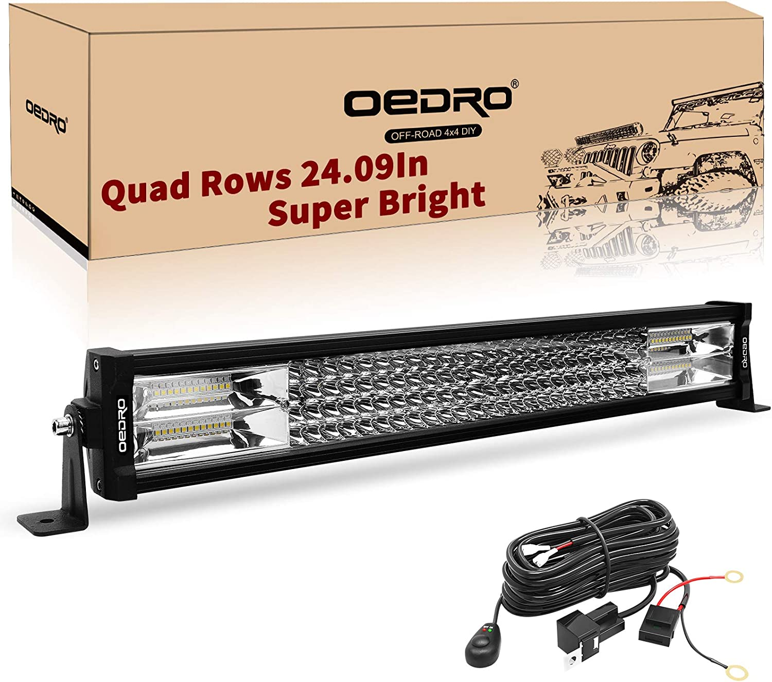 oEdRo LED Light Bar 22 Inch 520W 36400LM Quad-Rows Spot Flood Combo Led Lights Work Lights+Wiring Harness IP68 Grade Off Road Light 12V 24V Fit for Pickup Jeep SUV 4WD 4X4 ATV UTE Truck Tractor etc