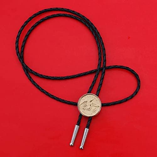 US 1971 ~ 1978 Eisenhower Dollar BU Uncirculated Coin Simple Slide 36 black Leatherette Cord Bolo Tie NEW