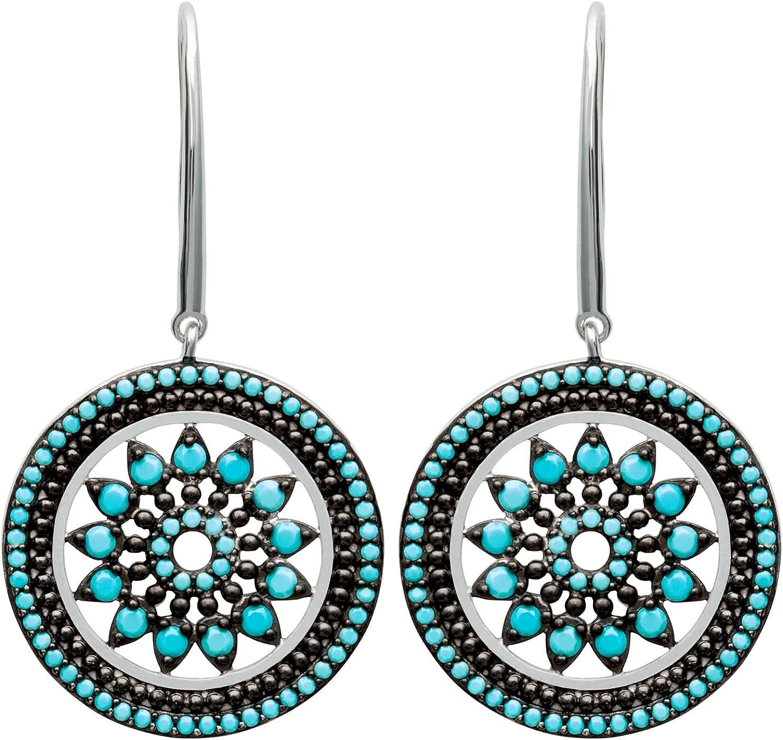 So Chic Joyas© pendientes con mujer tija & círculo flor roseta calada piedras negro & azul turquesa plata 925