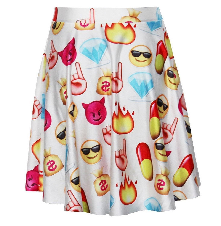 Aivtalk Damen Mädchen Kurz Rock Faltenrock Minirock WeißSkater Skirt Hohe Taille - Emoji