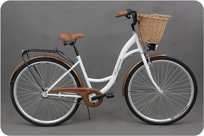 Goetze Classic 28 Zoll Damen Citybike Stadtrad Damenfahrrad Damenrad Hollandrad Retro-Design 3-Gang Korb Hinterradbremse LED-