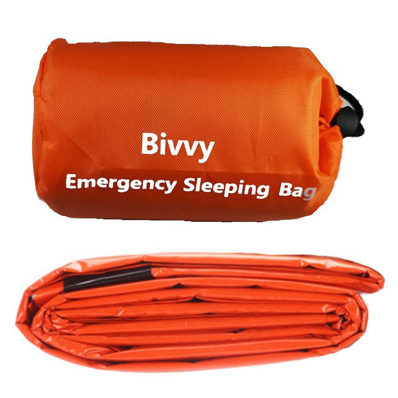Orange JIUY Reusable Emergency Sleeping Bag Thermal Waterproof Survival Camping Travel Bag Safety Durable Portable
