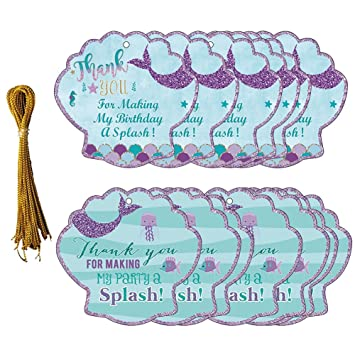 24pcs Thank You Tags Mermaid Gift Bottle Tags With String Baby Shower Birthday Wedding Party Thank