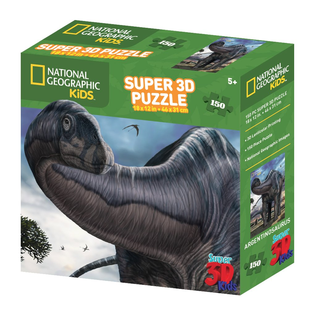National Geographic Ng10810 Kids Super Argentinosaurus 3d Puzzle Pel 150 Piece Toys Games