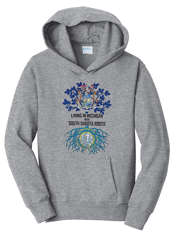 Tenacitee Girls Living in Michigan with South Dakota Roots Hooded Sweatshirt