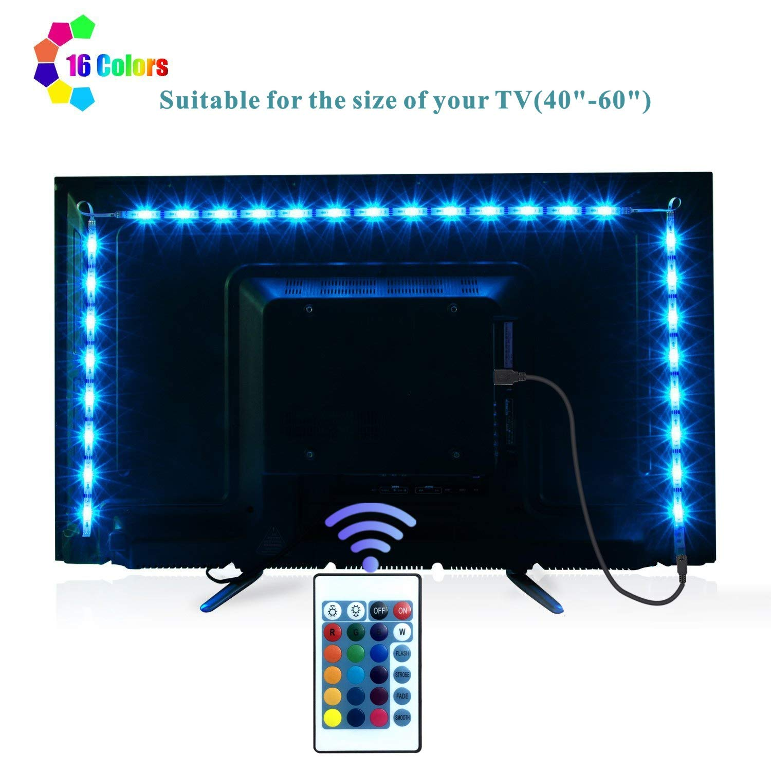 Deli LED TV Backlights Strip Lights 2M/6.56ft RGB LED Lights Strips for 40 to 60 in HDTV Desktop PC Neon Light Bias Lighting with 24 Key Remote USB LED Strips TV Backlight