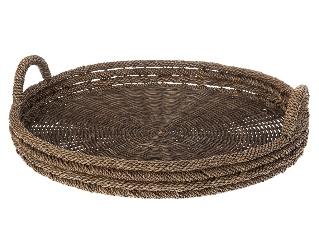 KOUBOO Round Serving Tray in Lampakanay and Wicker 1020025
