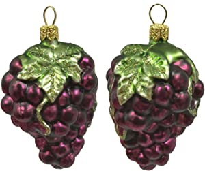Pinnacle Peak Trading Company Cluster of Purple Grapes Polish Glass Christmas Ornament Fruit Food Set of 2