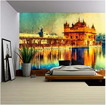 Amazon Com Wall26 Golden Temple At Amritsar India Oil Painting Removable Wall Mural Self Adhesive Large Wallpaper 100x144 Inches Home Improvement