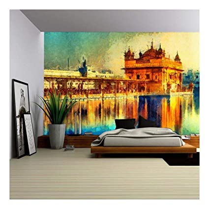 amazon com wall26 golden temple at amritsar, india oil paintingamazon com wall26 golden temple at amritsar, india oil painting removable wall mural self adhesive large wallpaper 100x144 inches home