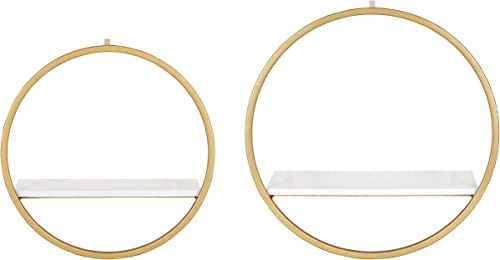 Kate and Laurel Wicks Round Floating Wall Shelf, 2 Piece, White