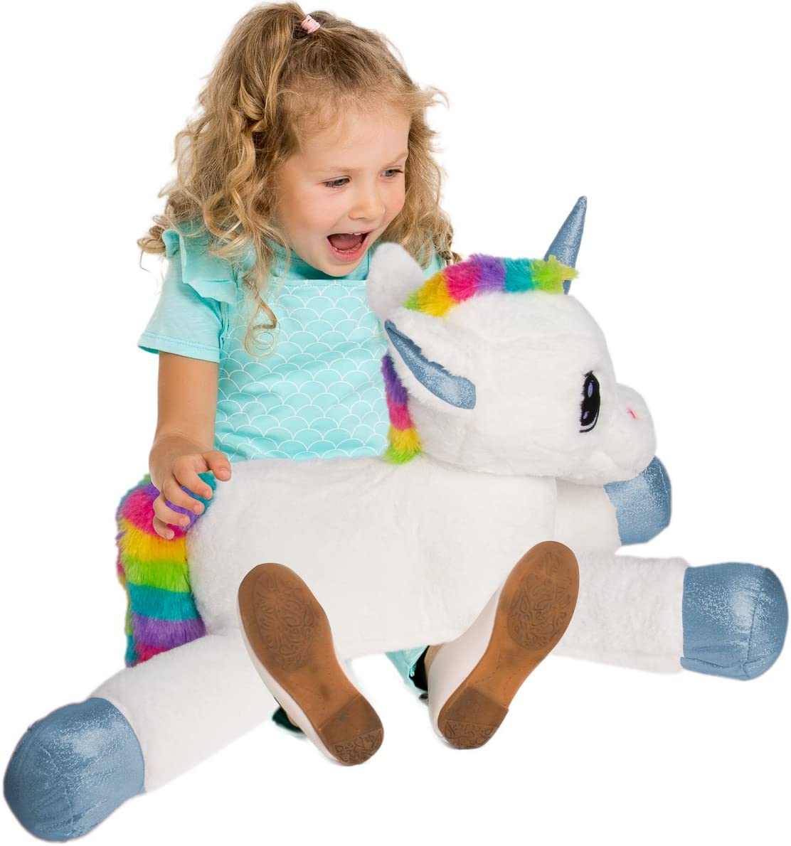 Gitzy 25 Inch Large Rainbow Unicorn Stuffed Animal Girls Kids Toddler Plush Toy Pillow Home Travel