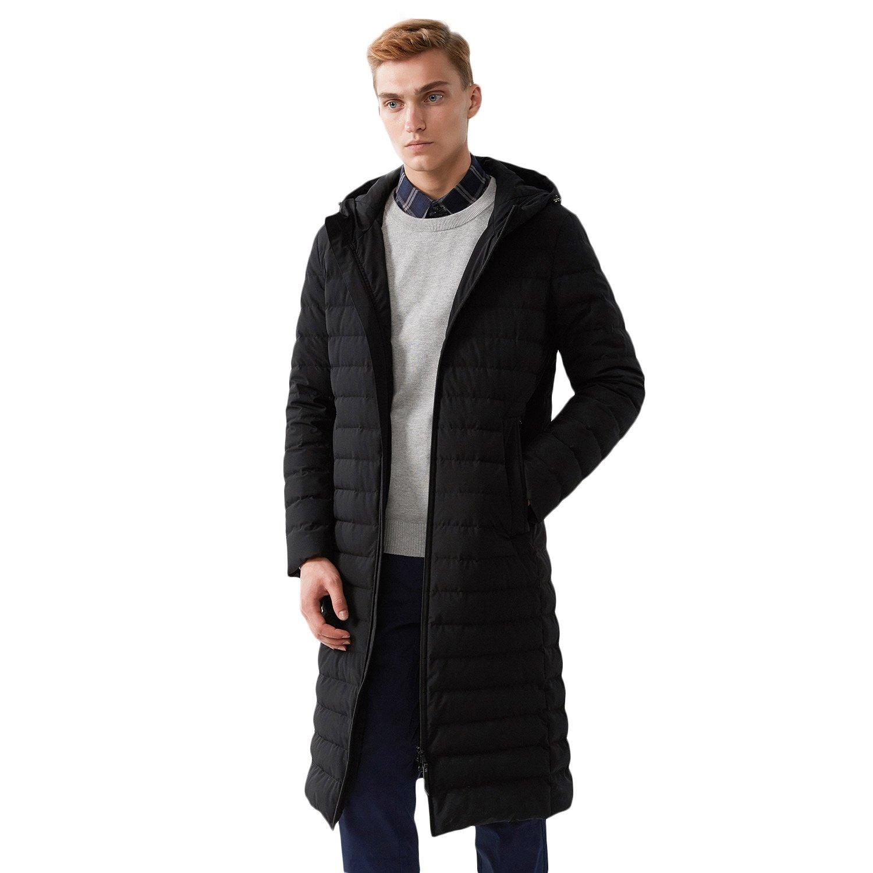 BOSIDENG Men's Winter Goose Down Jacket Light Warm Hooded Long Smart Casual Business Outerwear(185/100A 8056)