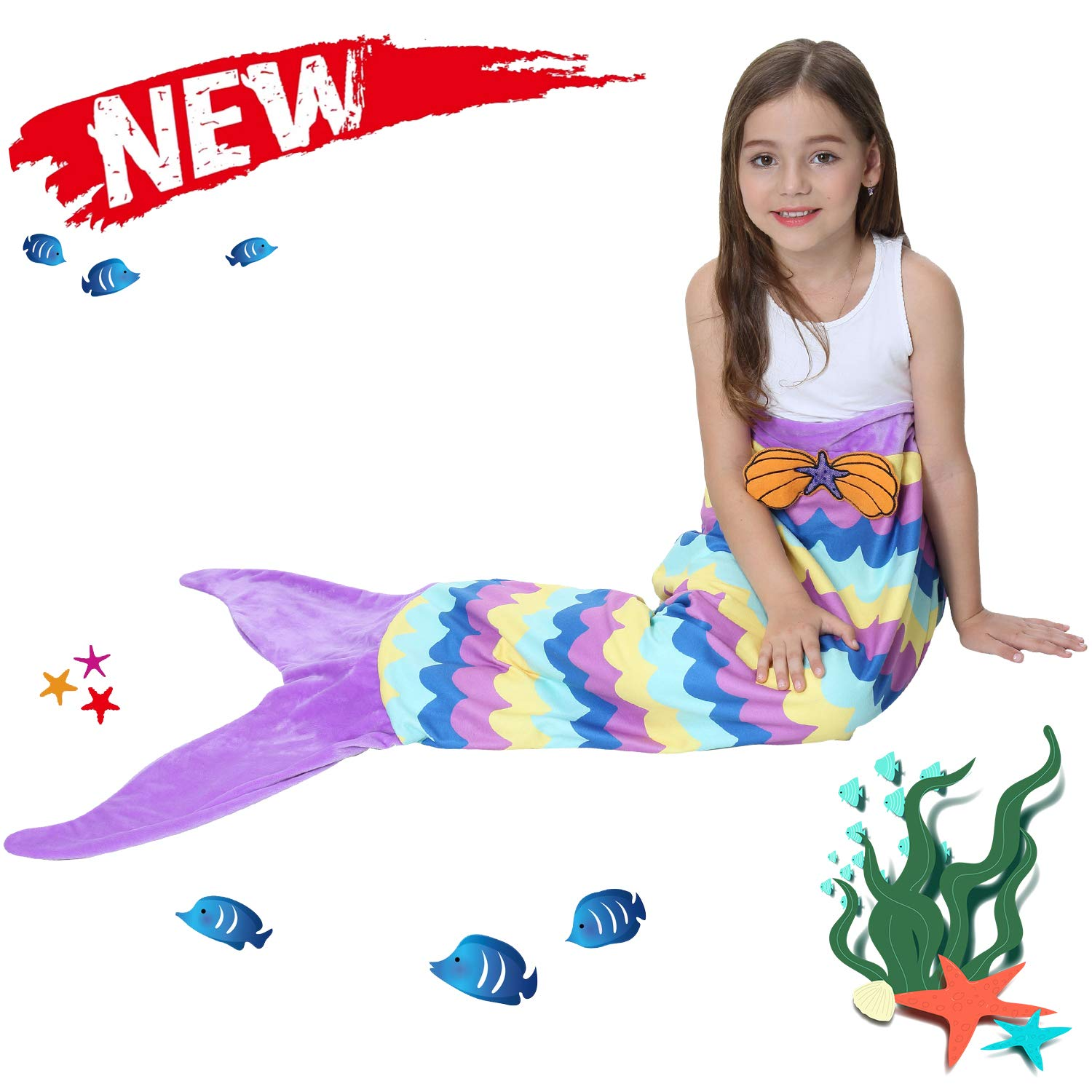 Ereon Mermaid Tail Blanket for Girls Kids Soft Plush Flannel Sleeping Bag to Keep Warm All Seasons Blanket for Girl Christmas Birthday Gift Apply to Bedroom Sofa Beach Outdoor(Purple) by Ereon (Image #1)