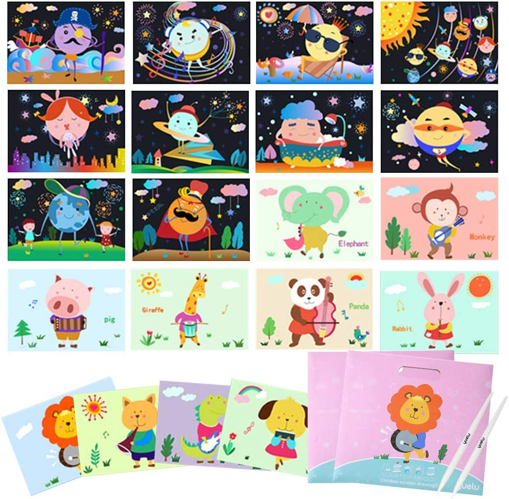 Yarlilyan 9 Pieces Cartoon Animal Design Scratch Art Set with Wooden Stylus and Brush Black Scratch Off and Coloring Cards for Kids Creative Toys Birthday Gift Party Game for Boys Girls