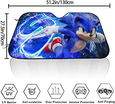 Amazon Com Bargburm Sonic The Hedgehog Car Front Windshield Sunshade Sun Shades Foldable Car Front Window Sunshade 27 5 X 51 In Clothing