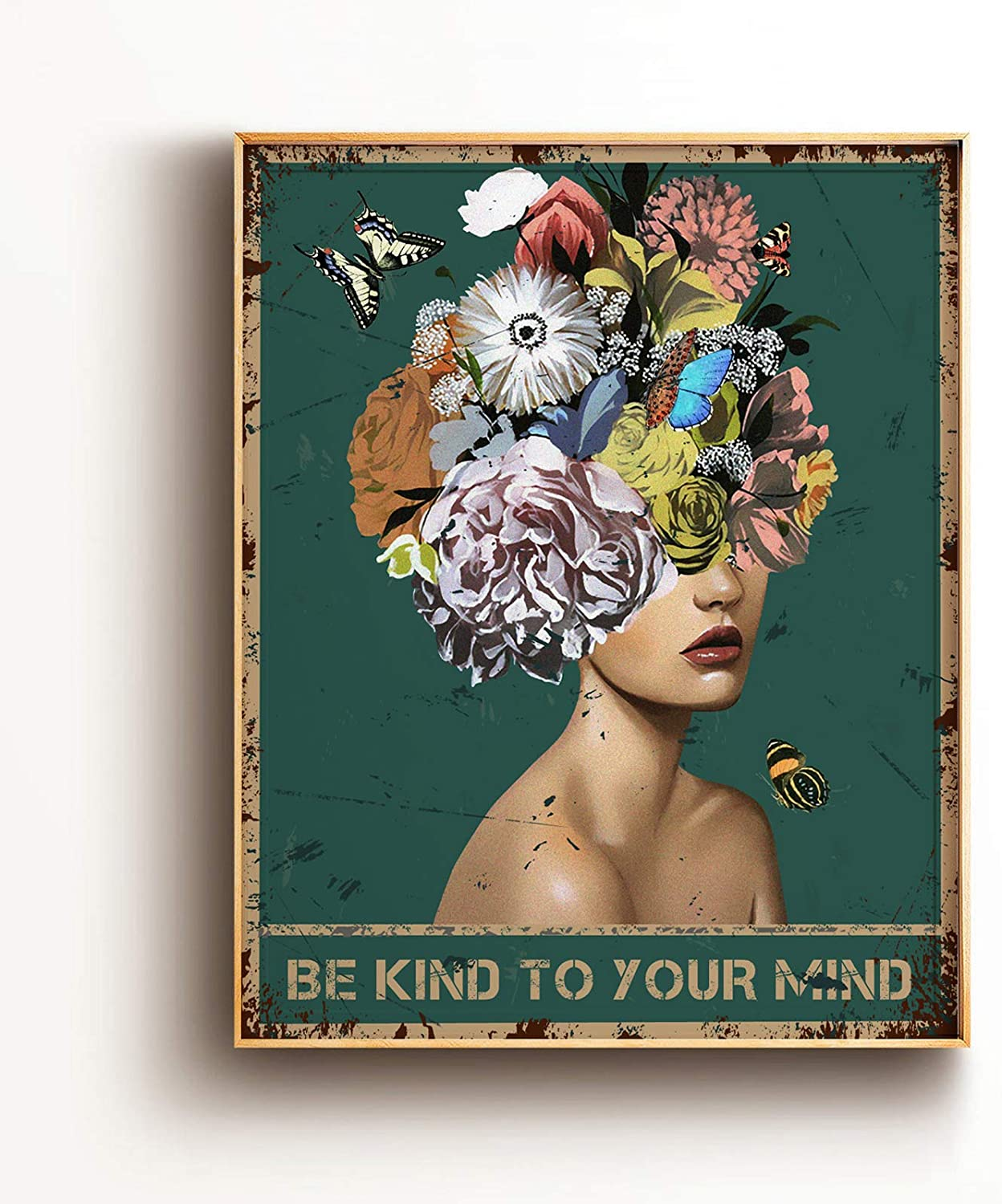 Inspirational Quote Wall Art Print Poster Decor - Be Kind To Your Mind Flower Vintage Poster for Office/Home/Classroom Decor - Best Birthday/Thanksgiving/Christmas Ideas - 8x10 Unframed
