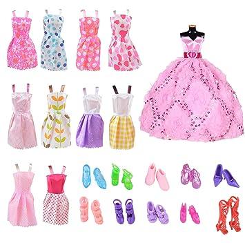 VOGONA 人形用パーティー衣装 10足パック 縫い付けドレス 10足 人形用靴