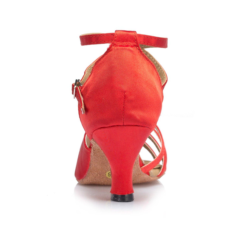 Minishion Womens TH122 2.5 Heel Comfortable Satin Wedding Ballroom Latin Taogo Dance Sandals